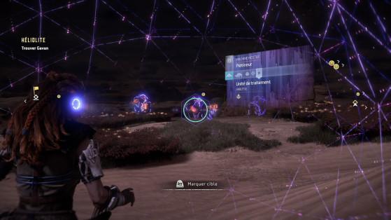 Le focus permet de mettre les points faibles de chaque ennemi en surbrillance ainsi que d'analyser leurs vulnérabilités. - Horizon Zero Dawn