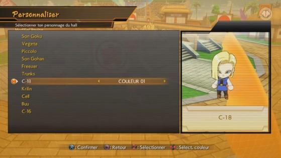 Menu de personnalisation des avatars Chibi - Dragon Ball FighterZ
