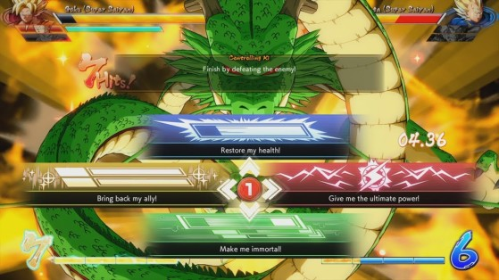 Shenron et les 4 choix possibles - Dragon Ball FighterZ