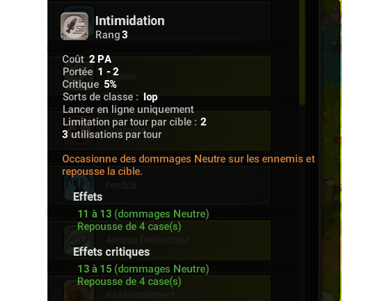 Intimidation - Dofus