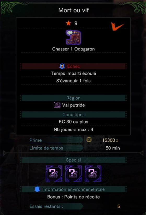 Contrat de l'Odogaron Alpha - Monster Hunter World