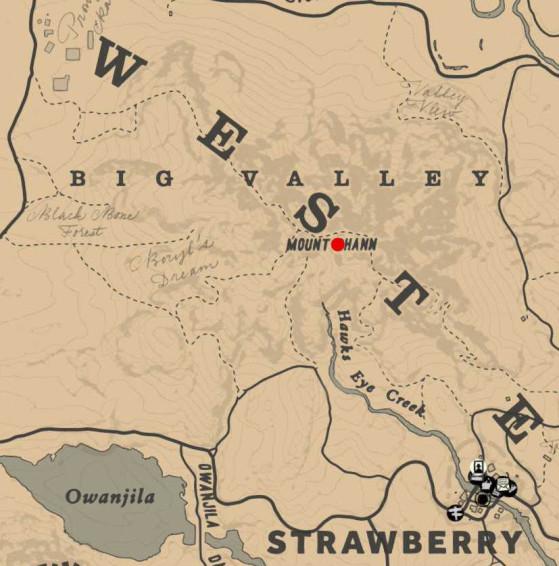 Position du monolithe sur le Mount Shann - Red Dead Redemption 2