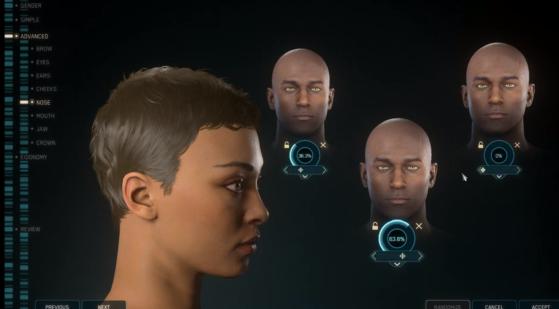 En mode avancé, chaque élément du visage est personnalisable - Star Citizen