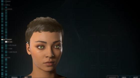 La sélection classique des couleurs d'yeux et de cheveux ainsi que de la coiffure - Star Citizen