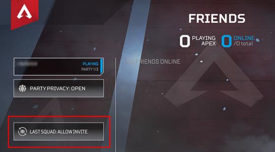 Vous pouvez activer ou désactiver cette option dans le menu Amis - Apex Legends