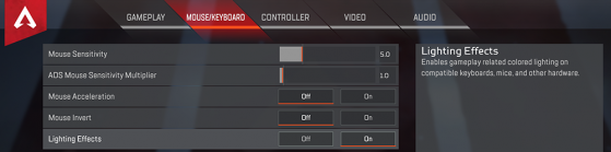 Ajout d'une option pour éteindre l'éclairage sur le matériel compatible - Apex Legends