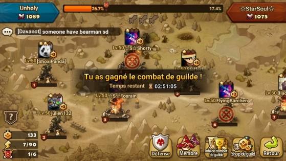 Exemple de victoire d'un combat de Guilde - Summoners War