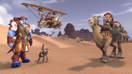 Récompenses de gauche à droite : ensemble complet d'explorateur renommé (tenue, tabard et sac à dos), Rikki, gyrocoptère de safari d'explorateur, enchantement Sables piquants et marcheur des dunes d'explorateur. - World of Warcraft
