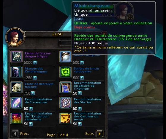 Jouet Miroir changeant achetable à Cupri - World of Warcraft