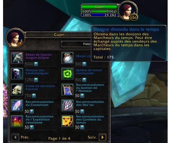 pour 500 Insignes distordus dans le temps - World of Warcraft