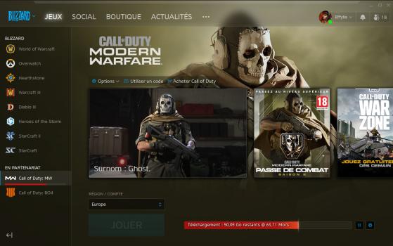 Launcher Battle.net pour Modern Warfare - Call of Duty : Modern Warfare