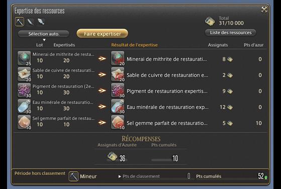 Expertise des ressources - Final Fantasy XIV