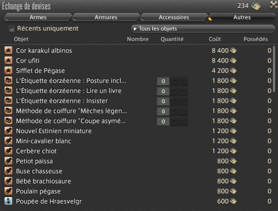 Liste des récompenses disponibles - Final Fantasy XIV