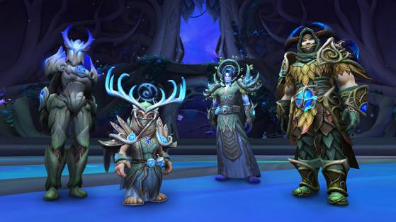 Ensembles de transmogrification de plaques (gauche), tissu (centre gauche), cuir (centre droit) et maille (droite). - World of Warcraft