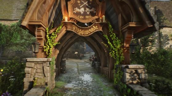 L'entrée du village de Pré-au-Lard vers la fin des années 80 - Harry Potter Hogwarts Legacy