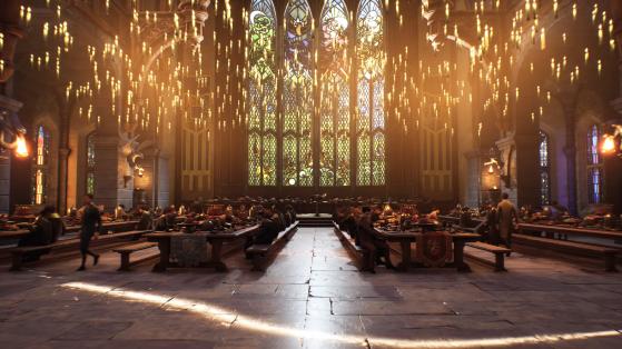 La grande salle (avec visiblement beaucoup moins d'élèves qu'en 1990) - Harry Potter Hogwarts Legacy