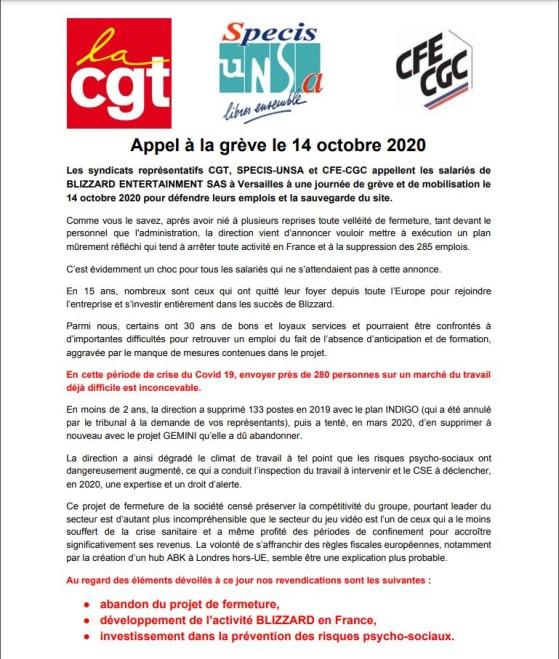 Appel à la grève officiel du 14 octobre 2020 - Millenium