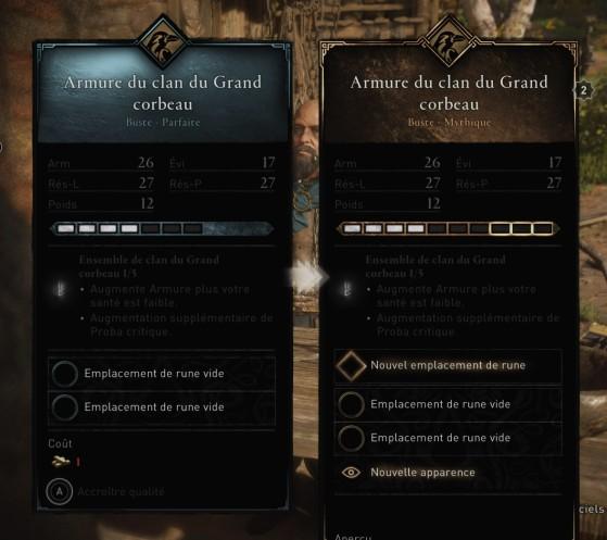 Remarquez le dernier emplacement ajouté, réservé à une rune majeure. - Assassin's Creed Valhalla
