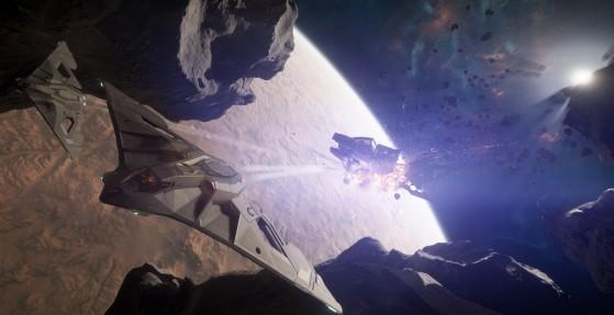 Une escadrille d'Eclipses détruit un Javelin - Star Citizen