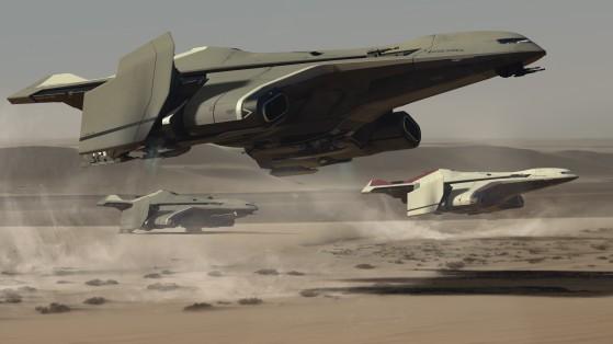 Un M2 en phase d'atterrissage - Star Citizen