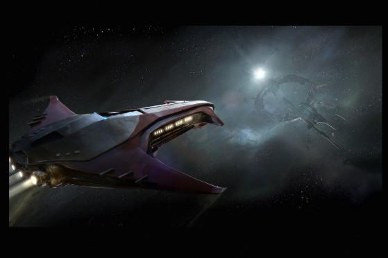En approche d'une station spatiale - Star Citizen
