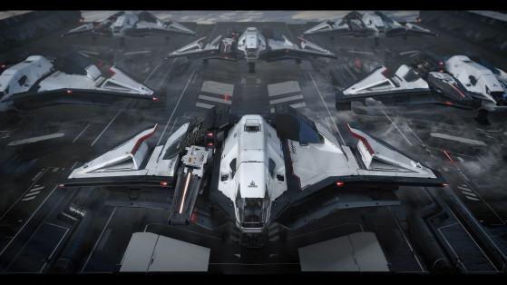 Escadrille de Ares Ion sur la piste - Star Citizen