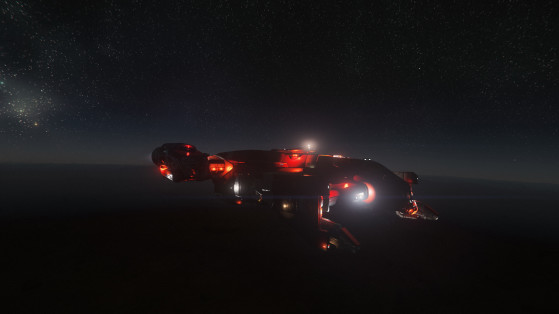 Cutlass red en intervention avec ses éclairages d'avertissement - Star Citizen
