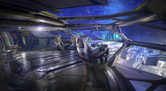 Cockpit, en supervision d'une réparation - Star Citizen